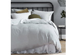 Temple & Webster Grey French Linen Quilt Cover Set