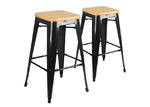 Dwell Home 66cm Tolix Replica Steel & Bamboo Barstools (Set of 2)