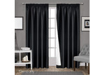 Dwell Home Black Art Queen Pencil Pleat Blockout Curtains (Set of 2)