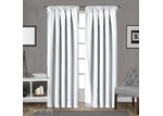 Dwell Home White Art Queen Pencil Pleat Blockout Curtains (Set of 2)