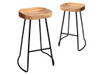 Dwell Home 65cm Vintage-Style Elm Wood Counter Stools (Set of 2)