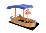 Dwell Outdoor Boat Shaped Keezi Wooden Sand Pit with Canopy