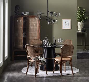 Black & Rattan Dining Set