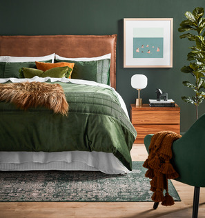 Lush Green and Tan Bedroom