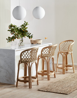 Marble and rattan kitchen