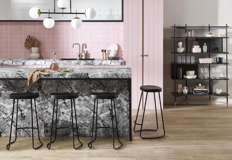 Pastel Pink & Black Kitchen
