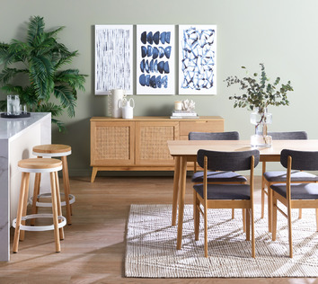 Bright Timber & Rattan Dining Room