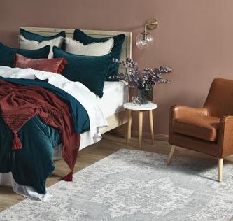 Wood, Leather & Velvet Bedroom