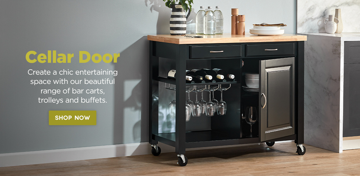 Black kitchen trolley with glassware,and accessories.