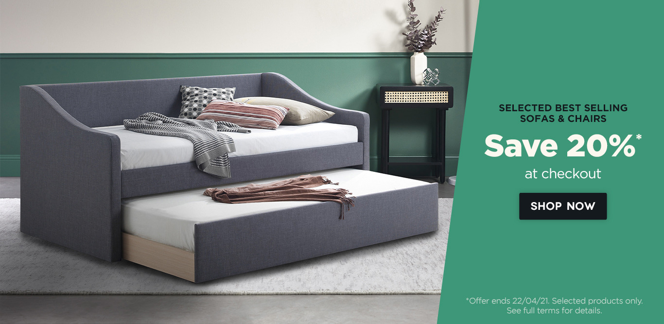 Save 20% at checkout on selected sofas & chairs