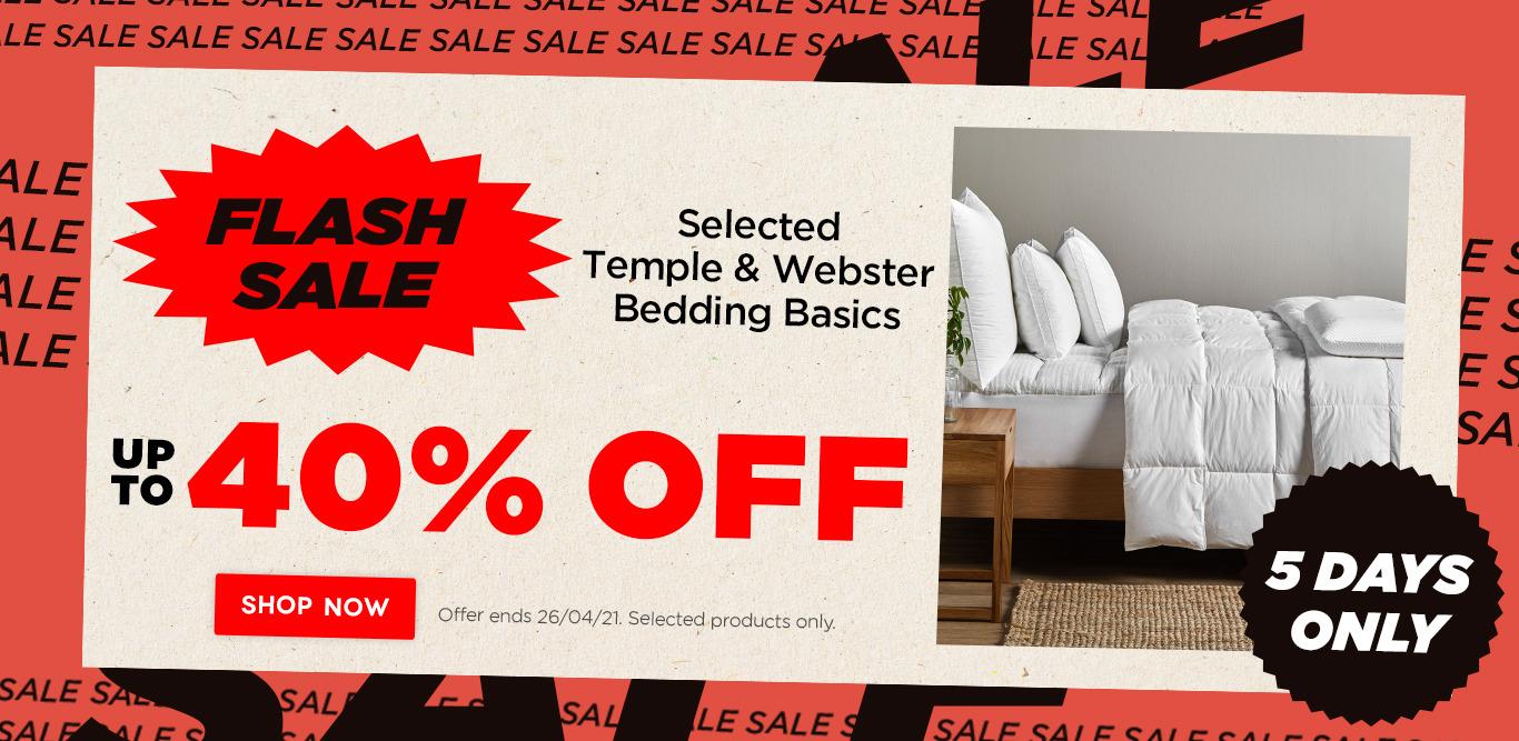 Up to 40% off Temple & Webster bedding basics