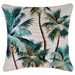 Escape to Paradise Stone Palm Trees Piped Square Outdoor Cushion