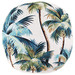 Escape to Paradise Natural Palm Trees Piped Outdoor Cushion