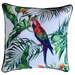 Glamour Paradise White Jungle Birds Outdoor Cushion