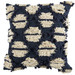 Temple & Webster Navy Hand-Embroidered Demi Cotton Cushion
