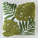 Sunday Homewares Embroidered Tropical Leaves Cotton Cushion