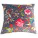 Bohemia & Co Grey Floral Velvet Cushion