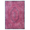 Magenta Power Loomed Distressed Modern Rug