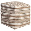 Terracotta Stripy Wool & Jute Ottoman