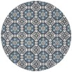 Blue Florale Hand Braided Cotton Rug