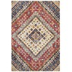 Multi-coloured Red Diamond Vintage Look Rug