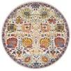 Multi-coloured Spring Vintage Look Round Rug