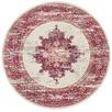 Pink & Ivory Oriental Vintage Look Round Rug