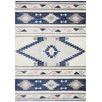 Navy & Ivory Pastel Boho Geometric Rug