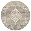 Grey Power-Loomed Bohemian Round Rug