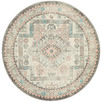 Silver Power-Loomed Bohemian Round Rug