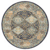Navy & Sky Blue Power-Loomed Transitional Round Rug