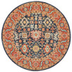 Navy & Rust Power-Loomed Transitional Round Rug