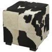 Black & White Cube Cowhide Ottoman