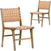 Cassie Woven Leather & Teak Dining Chairs
