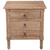 French Country Three Drawer Weathered Bedside Table
