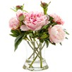 30cm Faux Peony with Glass Vase