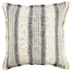 Cream Stripe Frayed Edge Cotton Cushion