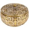 Gold Round Quatrefoil Metal Trinket Box