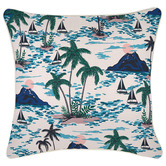 Escape to Paradise Natural Vacation Piped Outdoor Cushion
