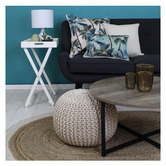 Escape to Paradise Cream Palm Trees Piped Square Outdoor Cushion