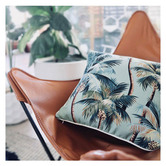 Escape to Paradise Lagoon Palm Trees Piped Square Outdoor Cushion