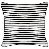 Escape to Paradise Black Piped Edge Stripe Square Outdoor Cushion