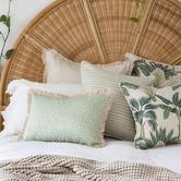Escape to Paradise White Piped Edge Stripe Outdoor Cushion