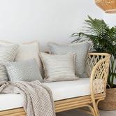 Escape to Paradise White Coastal Fringe Stripe Square Outdoor Cushion