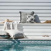 Escape to Paradise Black Coastal Fringe Lunar Square Outdoor Cushion