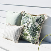 Escape to Paradise White Piped Edge Lunar Square Outdoor Cushion