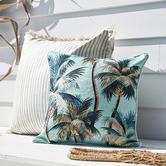 Escape to Paradise Aqua Palm Trees Piped Square Outdoor Cushion