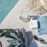 Escape to Paradise Natural Palm Trees Coastal Fringed Square Cushion