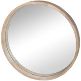 SLH House Natural Cooper Round Wooden Wall Mirror