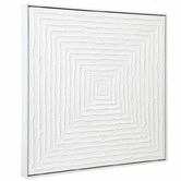 Rexington Home White Vortex Hand-Painted Framed Canvas Wall Art